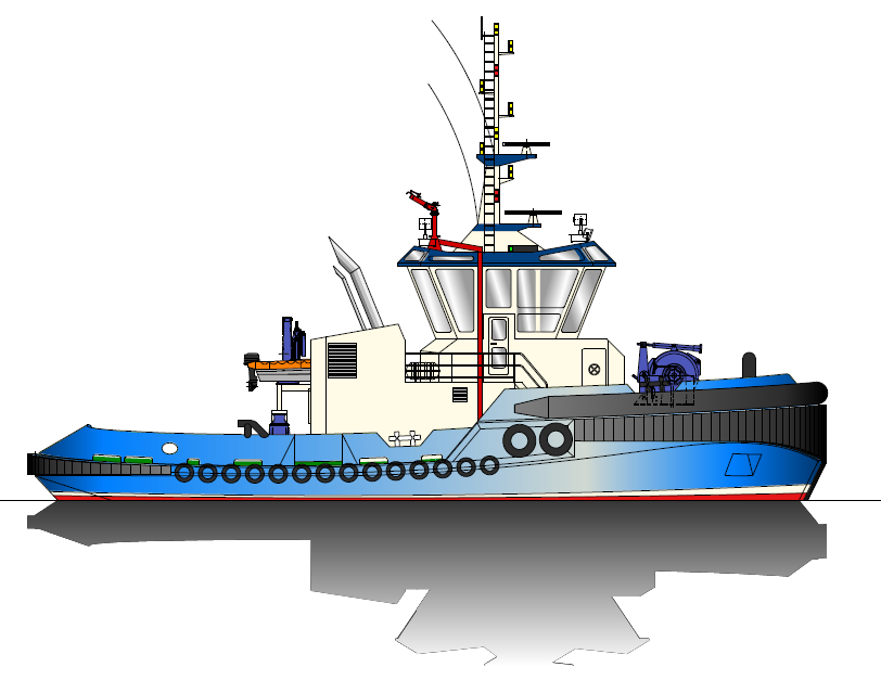 Initial render of 25.00m tug