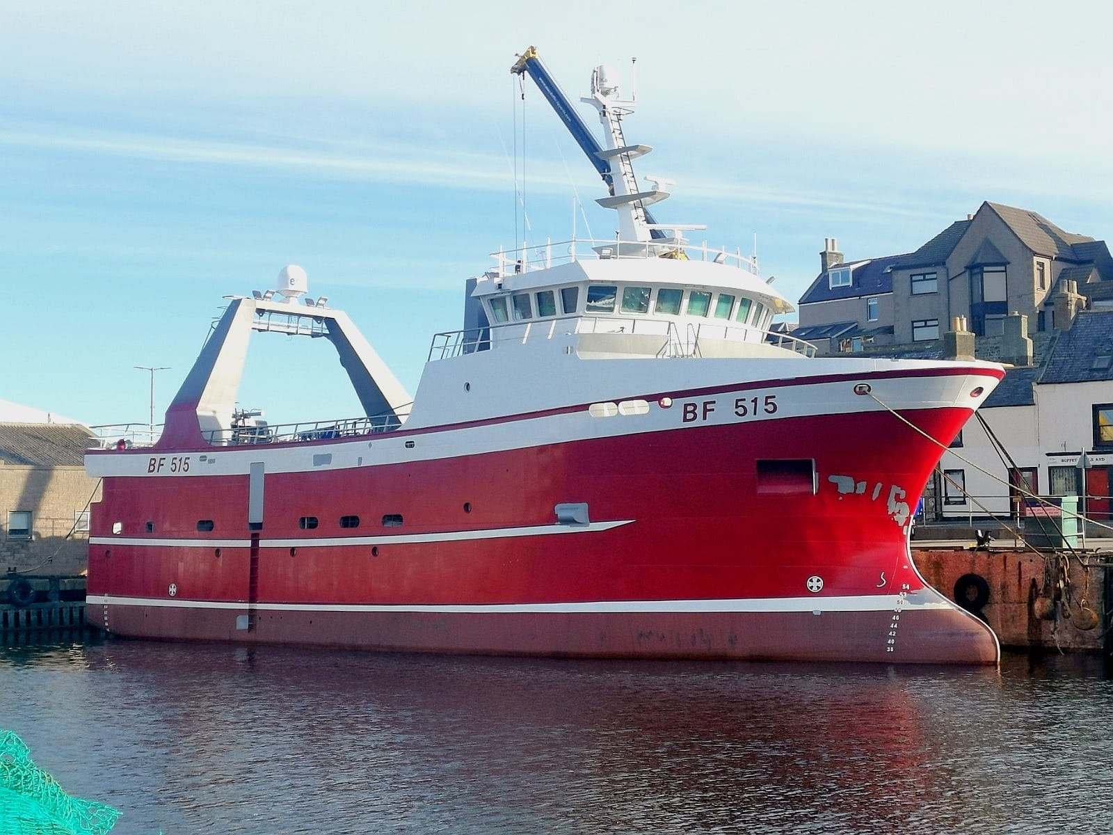 Starboard side of 33m fishing trawler